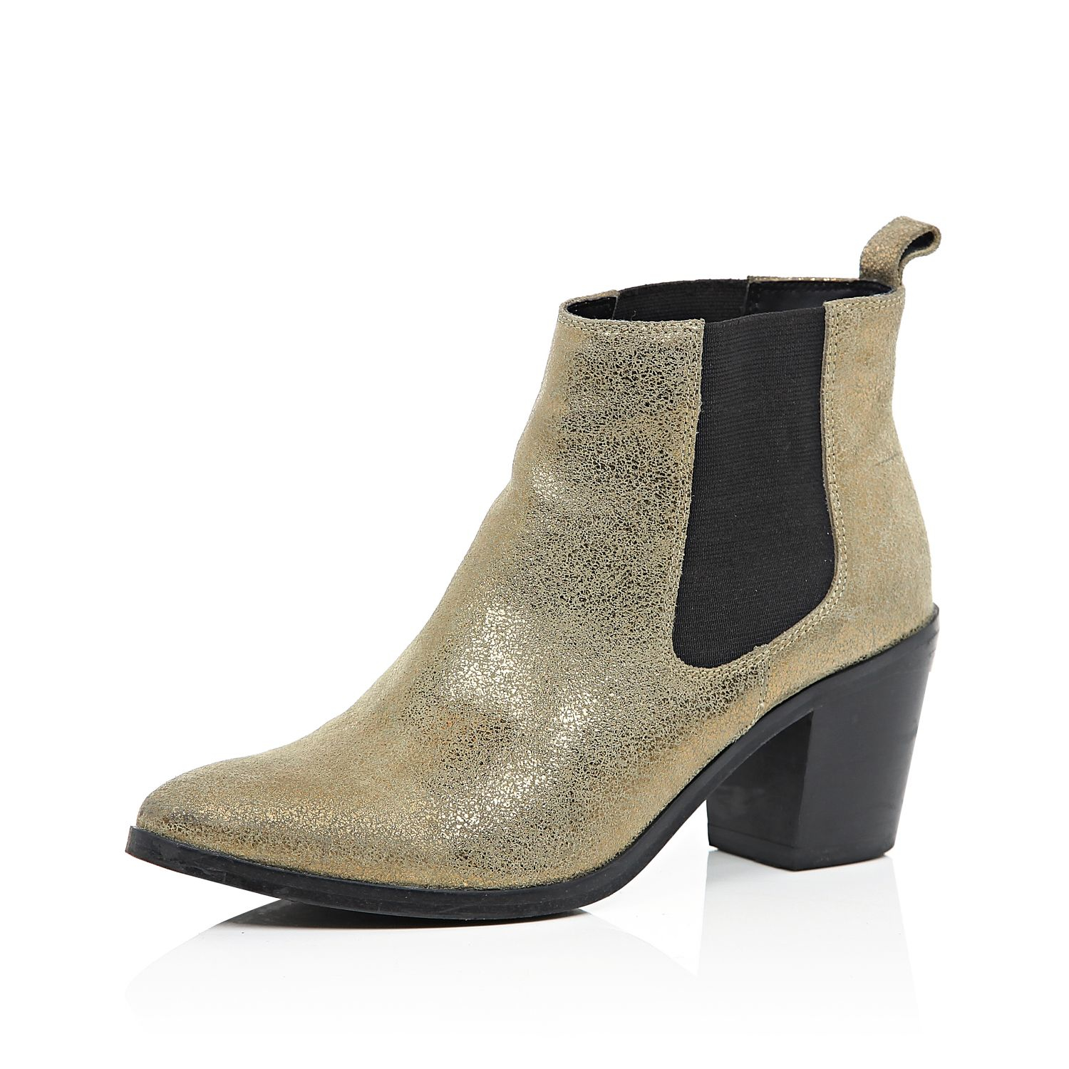 River island Gold Leather Mid Heel Chelsea Boots in Metallic | Lyst