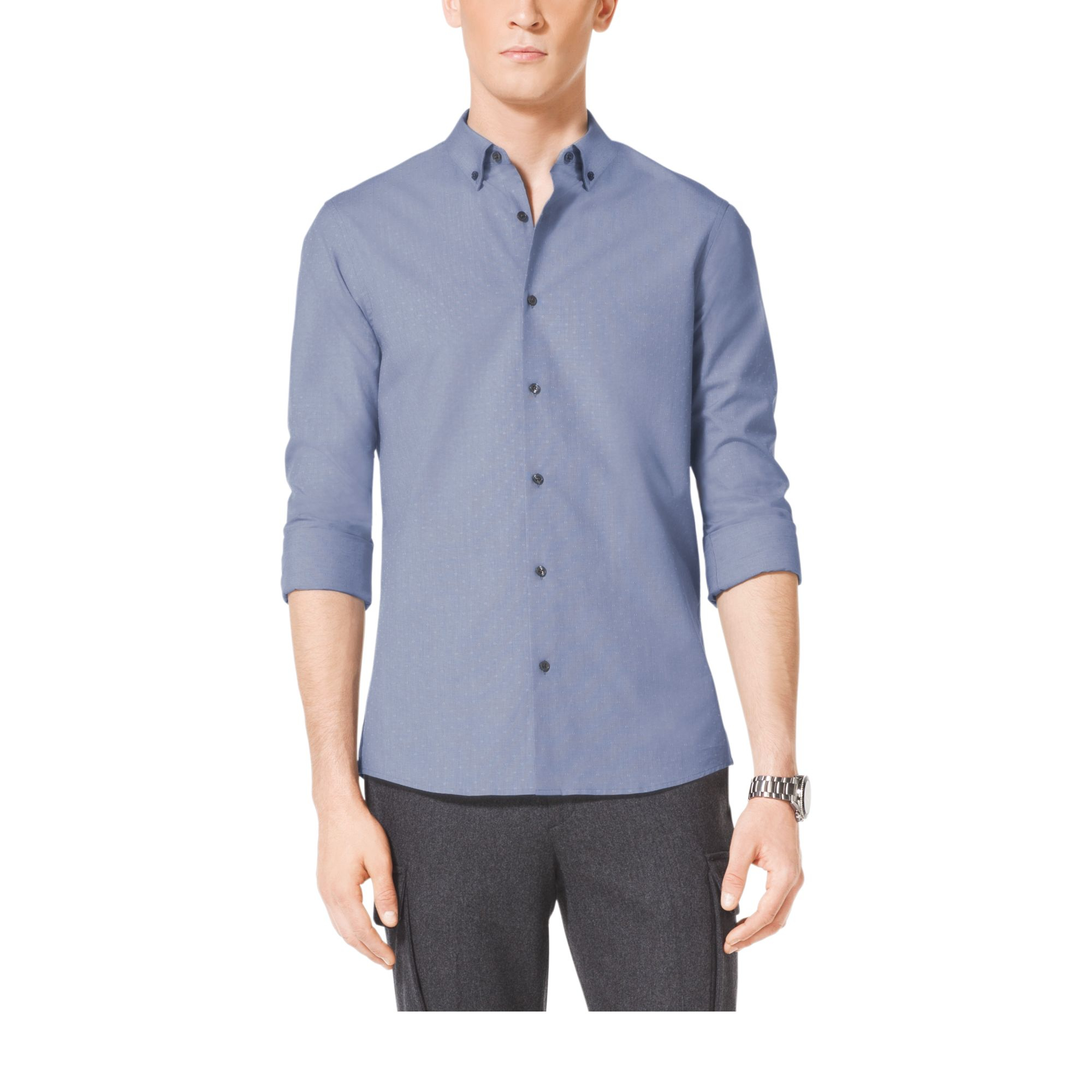 Michael kors slim fit cotton shirt in blue for men for Slim fit cotton shirts