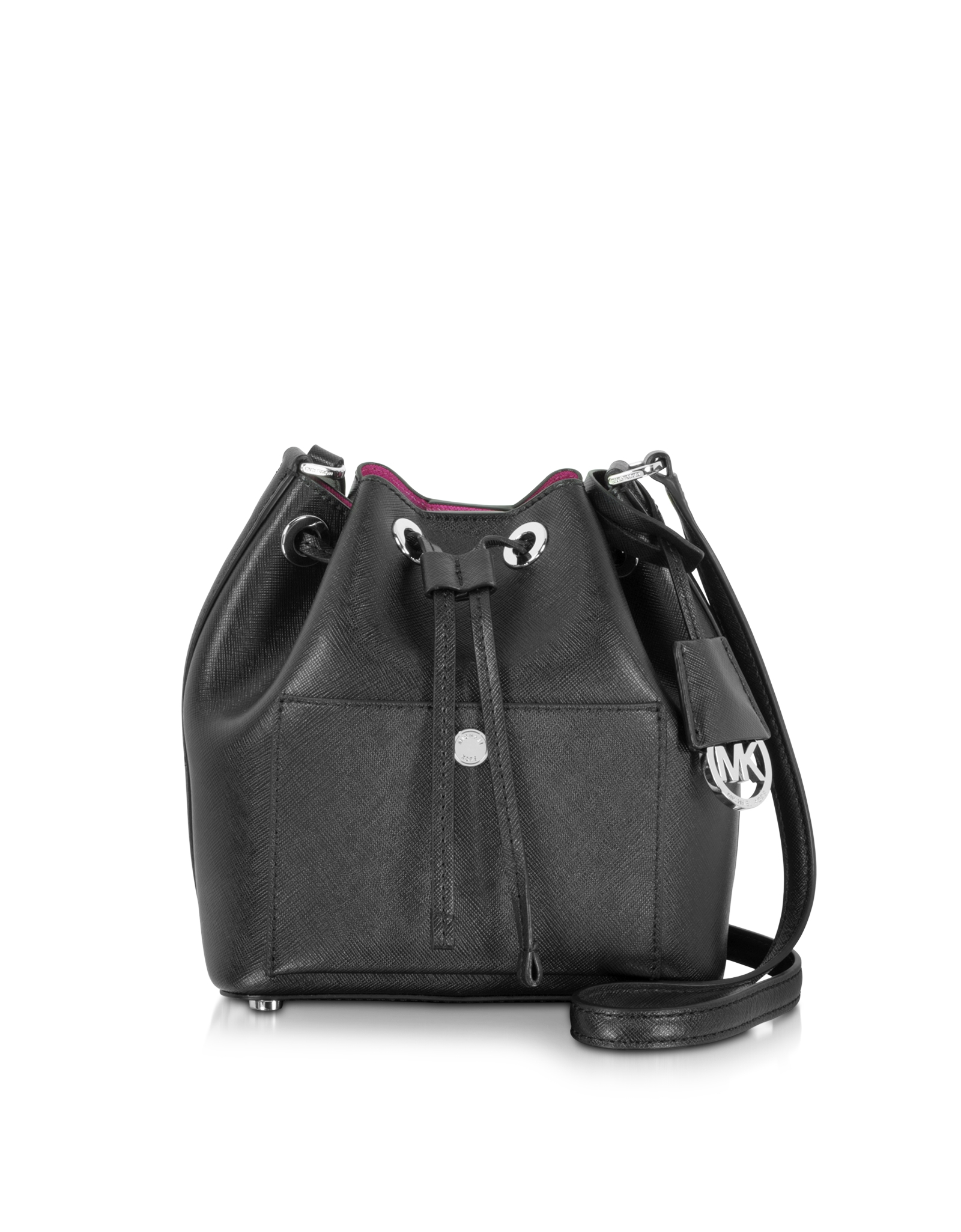 Lyst - Michael Kors Greenwich Saffiano-Leather Bucket Bag in Black 3f33bfa84a36b