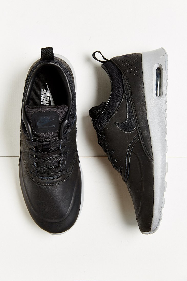 07edca9c80 Nike Air Max Thea Black Premium Leather Sneakers extreme-hosting.co.uk