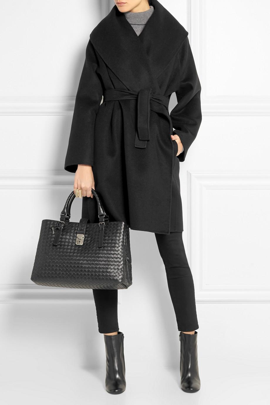 Bottega veneta Belted Double-Faced Cashmere Coat in Black   Lyst