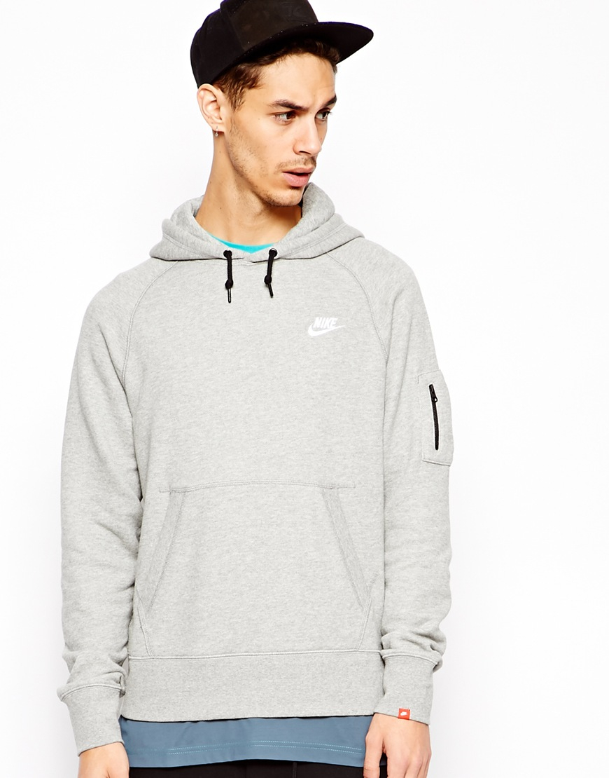nike aw77 hoodie with arm pocket in gray for men grey lyst. Black Bedroom Furniture Sets. Home Design Ideas