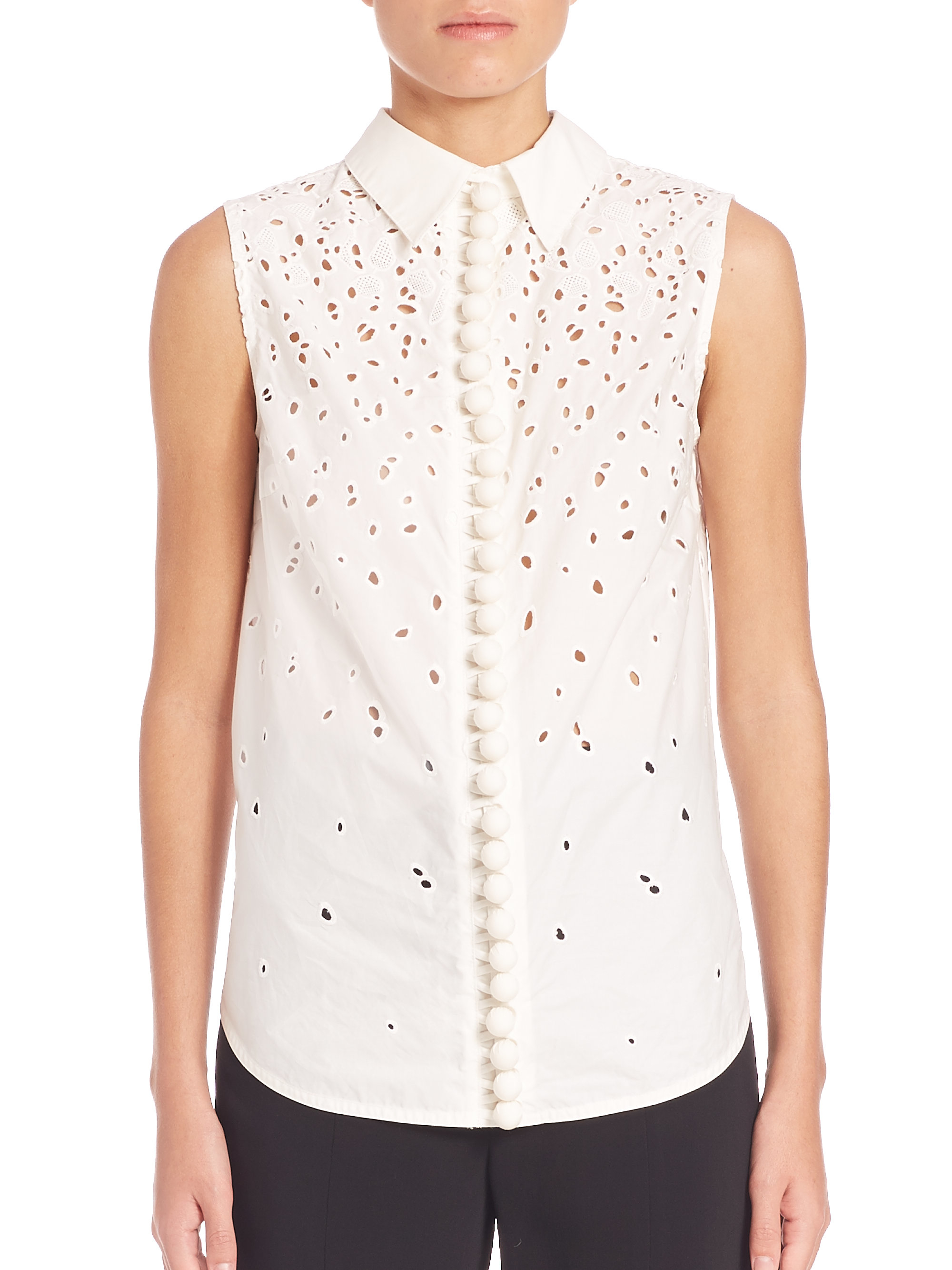 Cheap Sale 2018 Newest Proenza Schouler Woman Fil Coupé Cotton And Silk-blend Top White Size 0 Proenza Schouler Buy Cheap Order Under Sale Online y1yWZOnKT