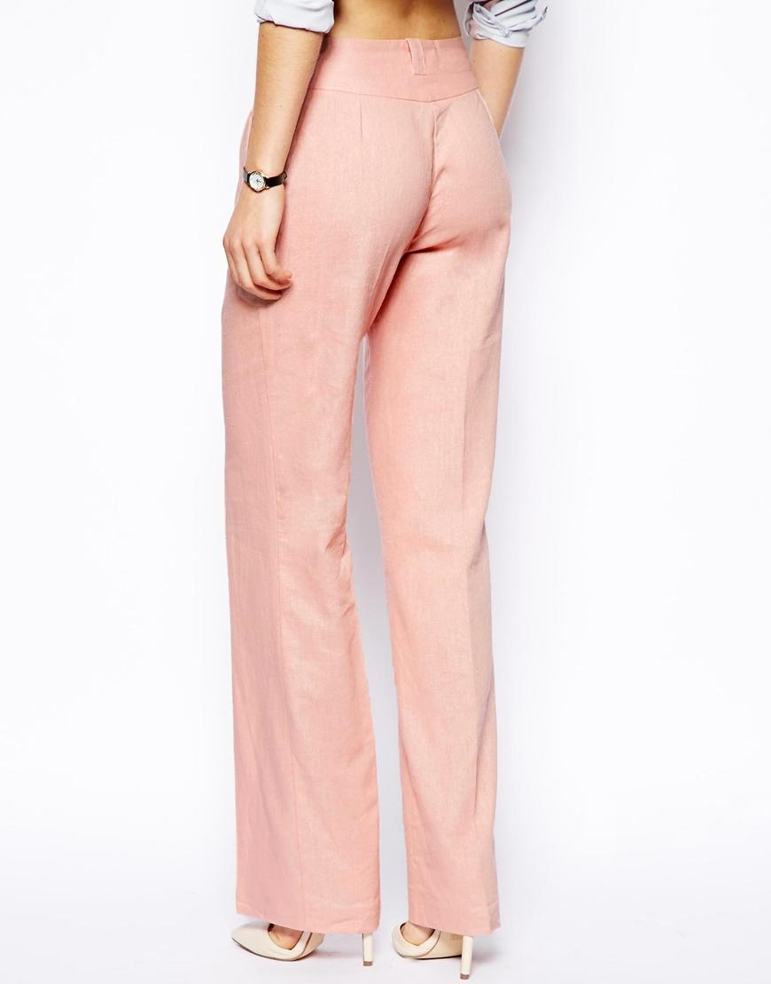 Asos Linen Pants in Wide Leg in Pink | Lyst