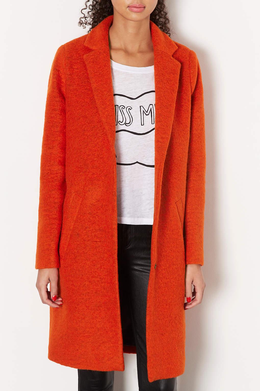 Topshop Wool Boyfriend Coat in Orange | Lyst