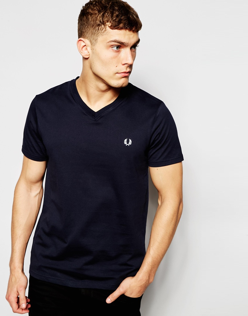 fred perry t shirt with v neck in navy in blue for men lyst. Black Bedroom Furniture Sets. Home Design Ideas