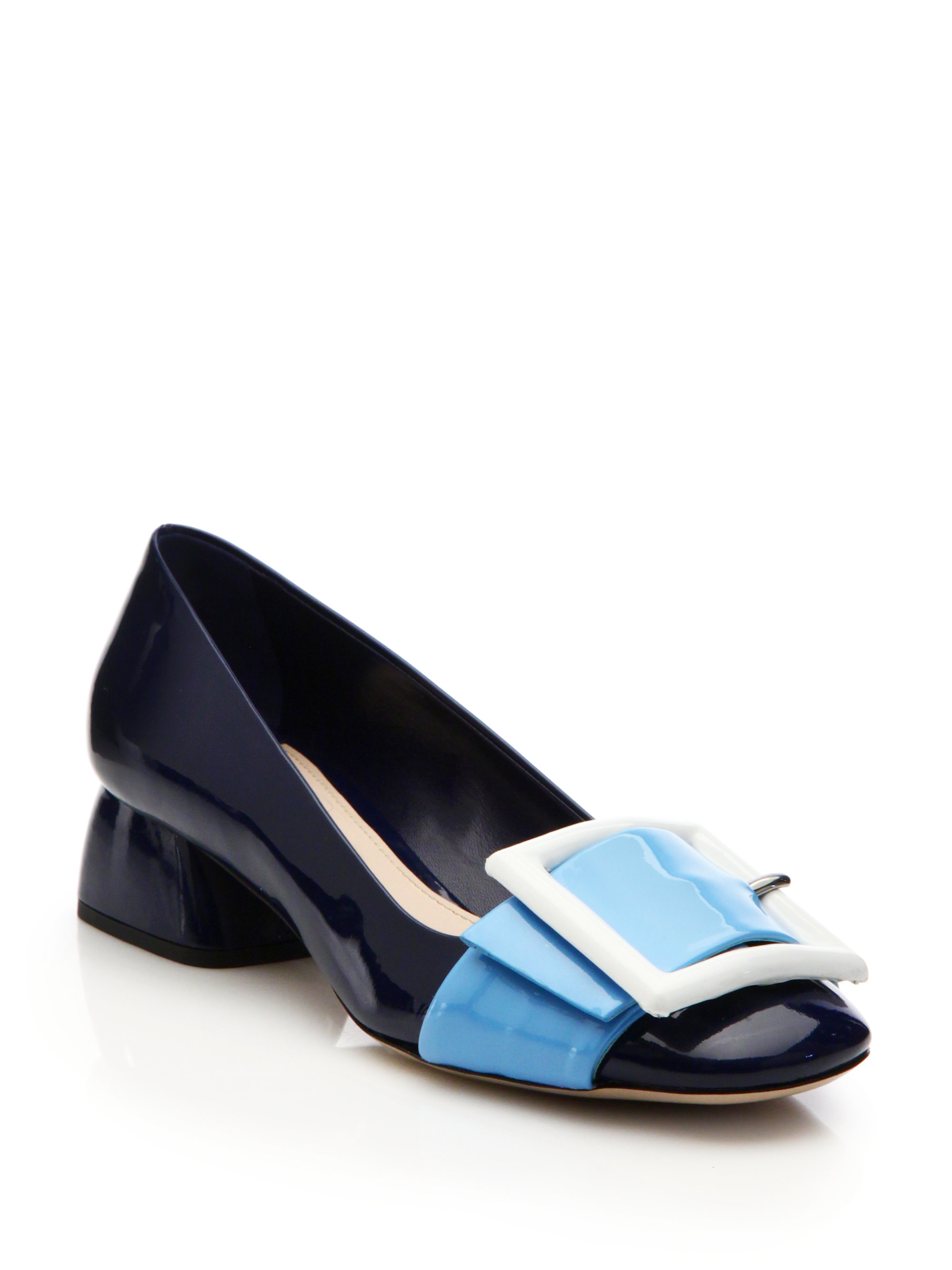 Lyst - Miu Miu Buckle-embellished Patent Leather Pumps in Blue a5664e47e8ff