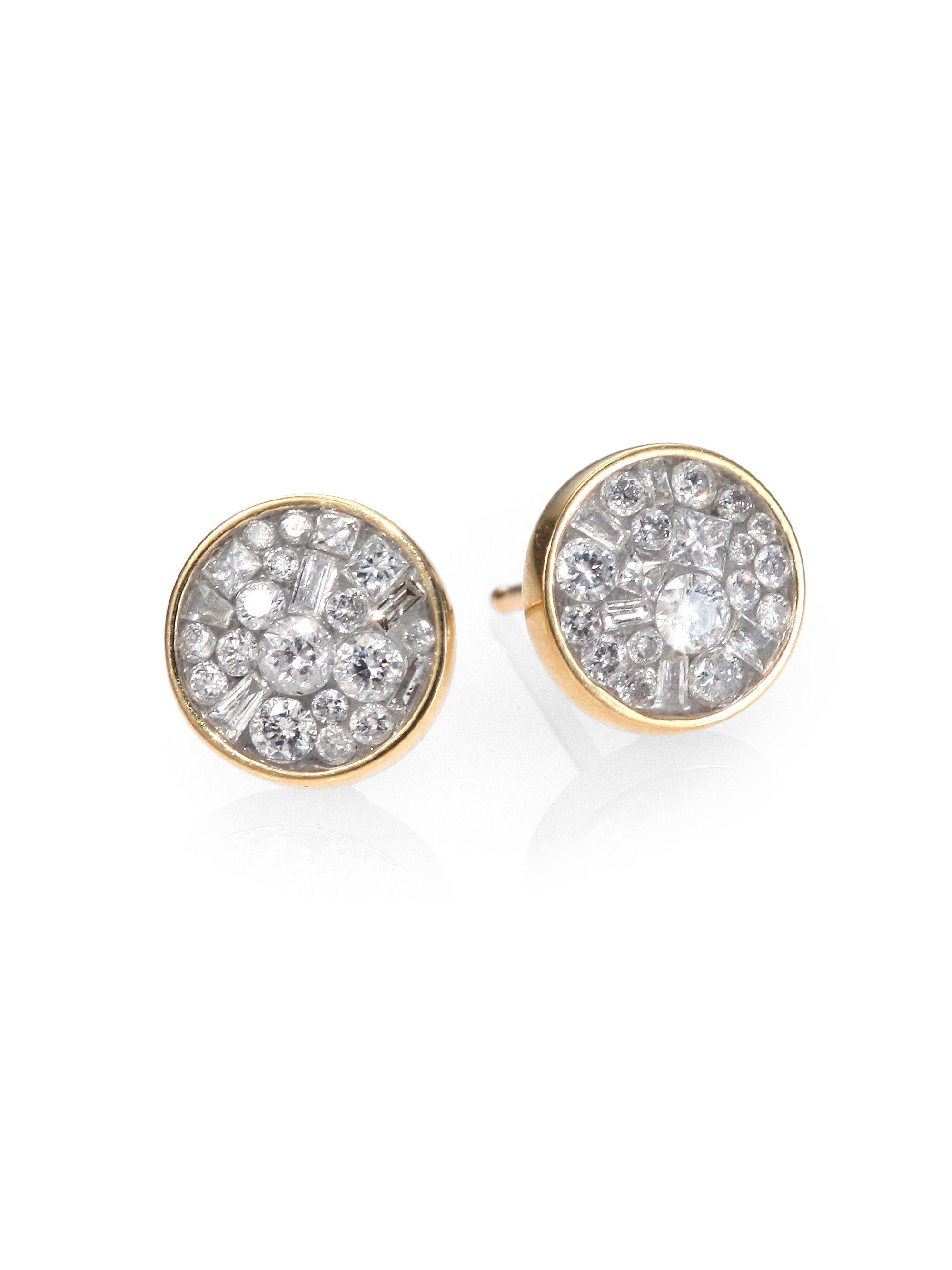 Plevé Ice Diamond & 18k Yellow Gold Stud Earrings in ...