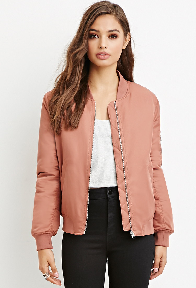 check out 6f8f5 962c5 Forever 21 Quilted Bomber Jacket in Pink - Lyst