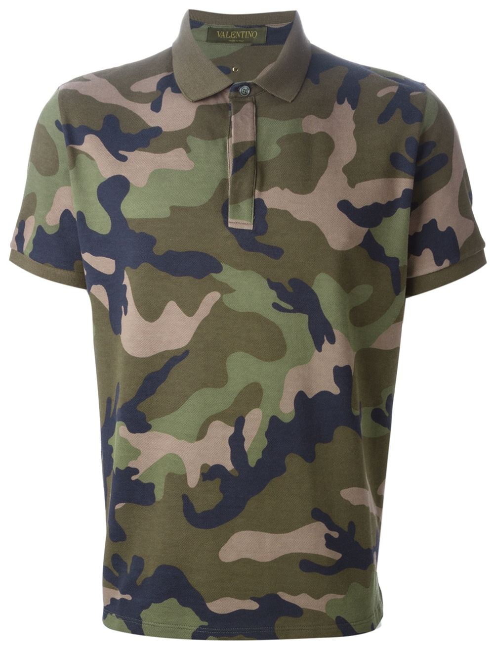 Valentino 39 rockstud 39 camouflage polo shirt in green for for Camo polo shirts for men