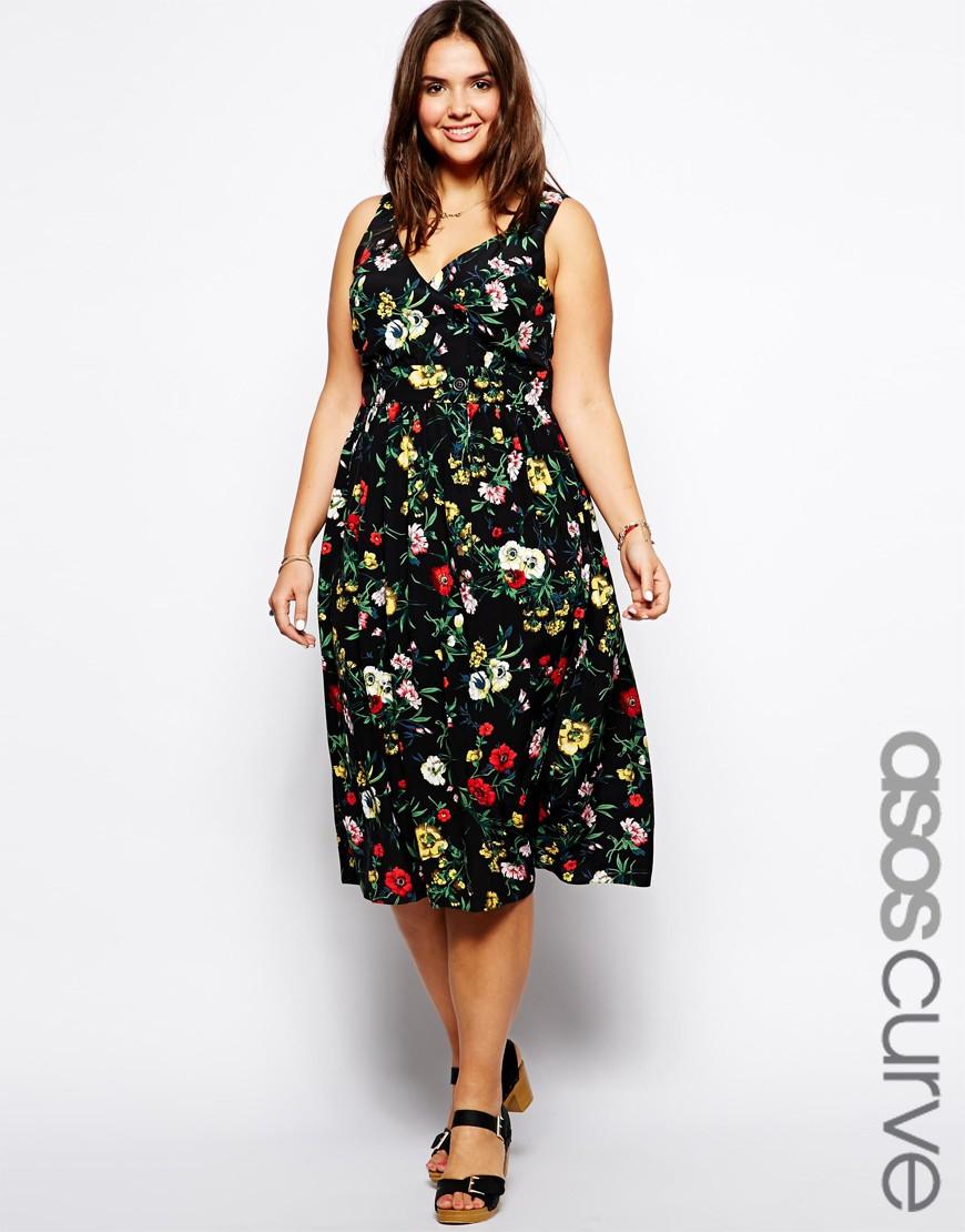 Lyst - Asos Exclusive Midi Dress In Garden Floral Print