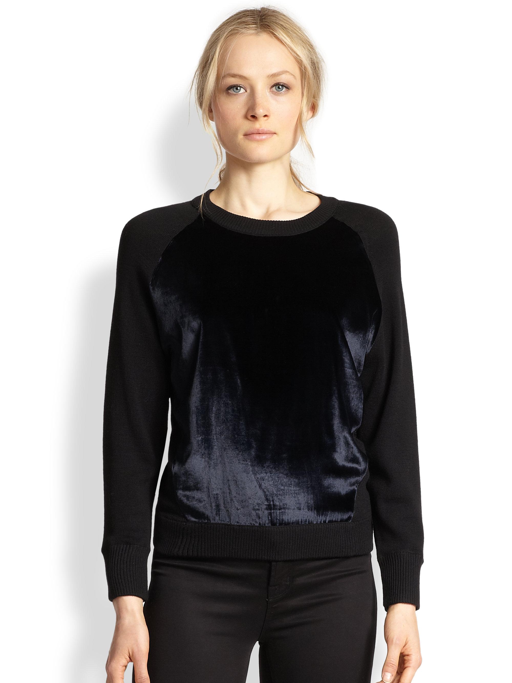 Wool Sweater Grey: J Brand Erin Velvet-Paneled Wool Sweater In Blue