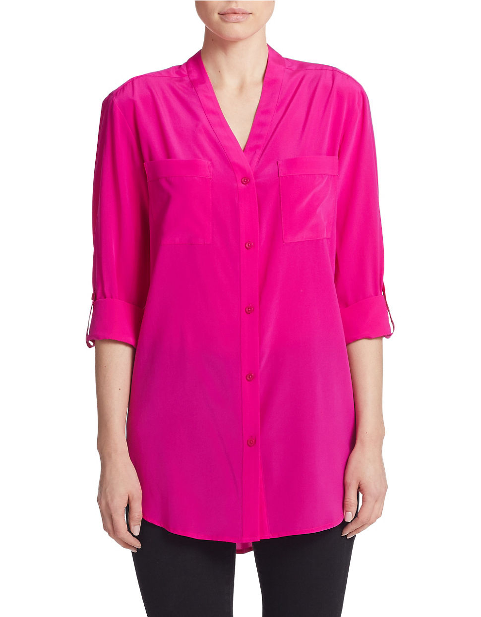 Dkny silk button down blouse in pink lyst for Silk button down shirt