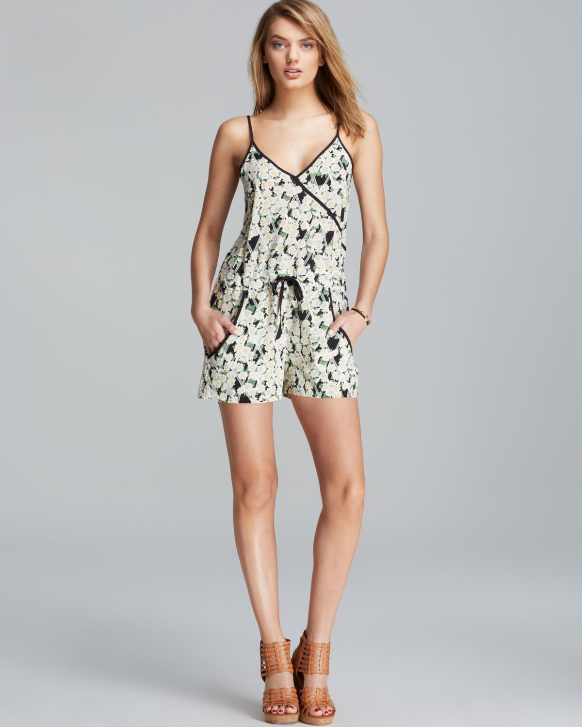 3a2b331a6d1 Lyst - French Connection Romper Tropicana Check