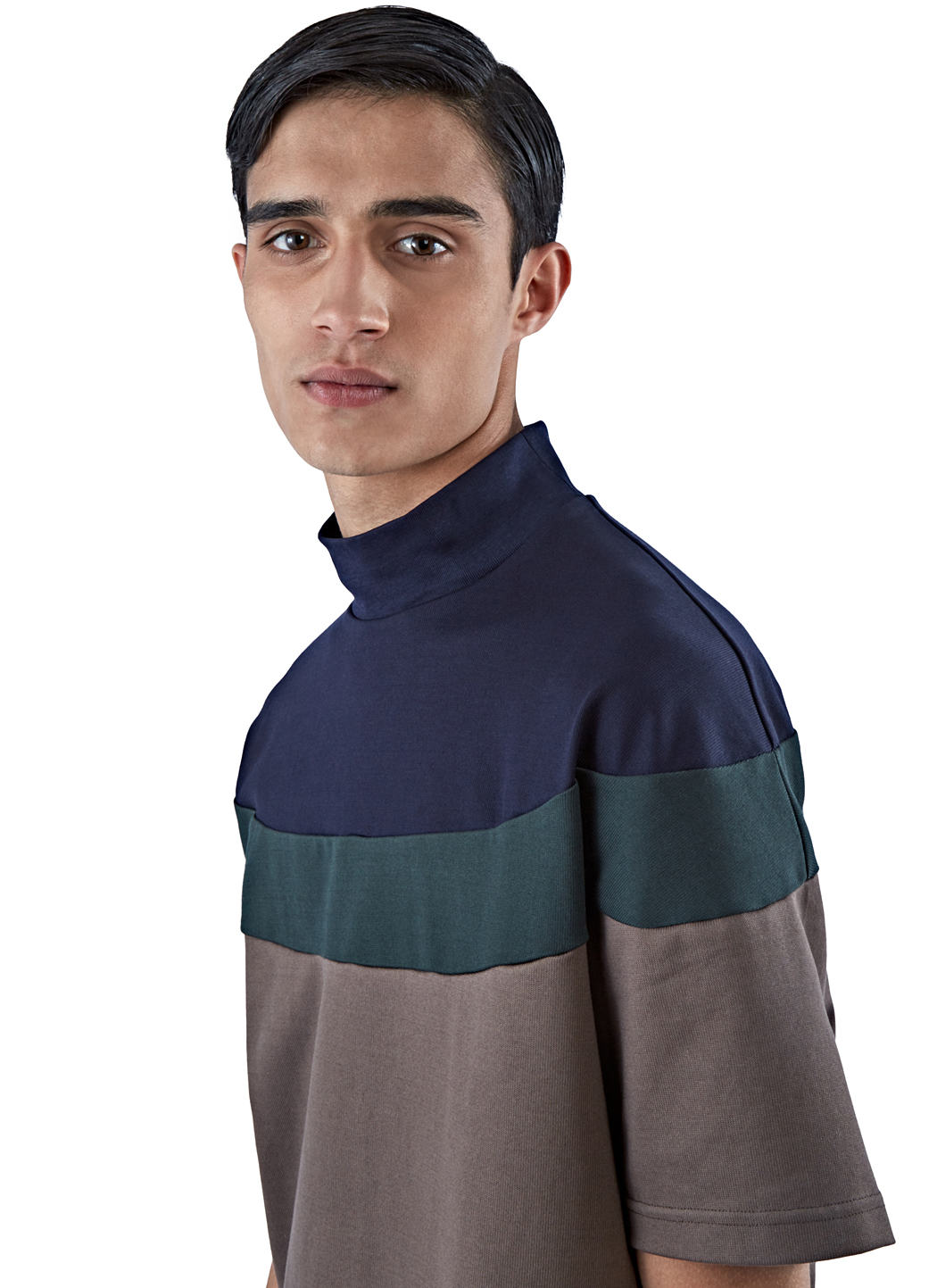 Lyst kolor men 39 s oversized roll neck t shirt in brown in for Mens chocolate brown dress shirt