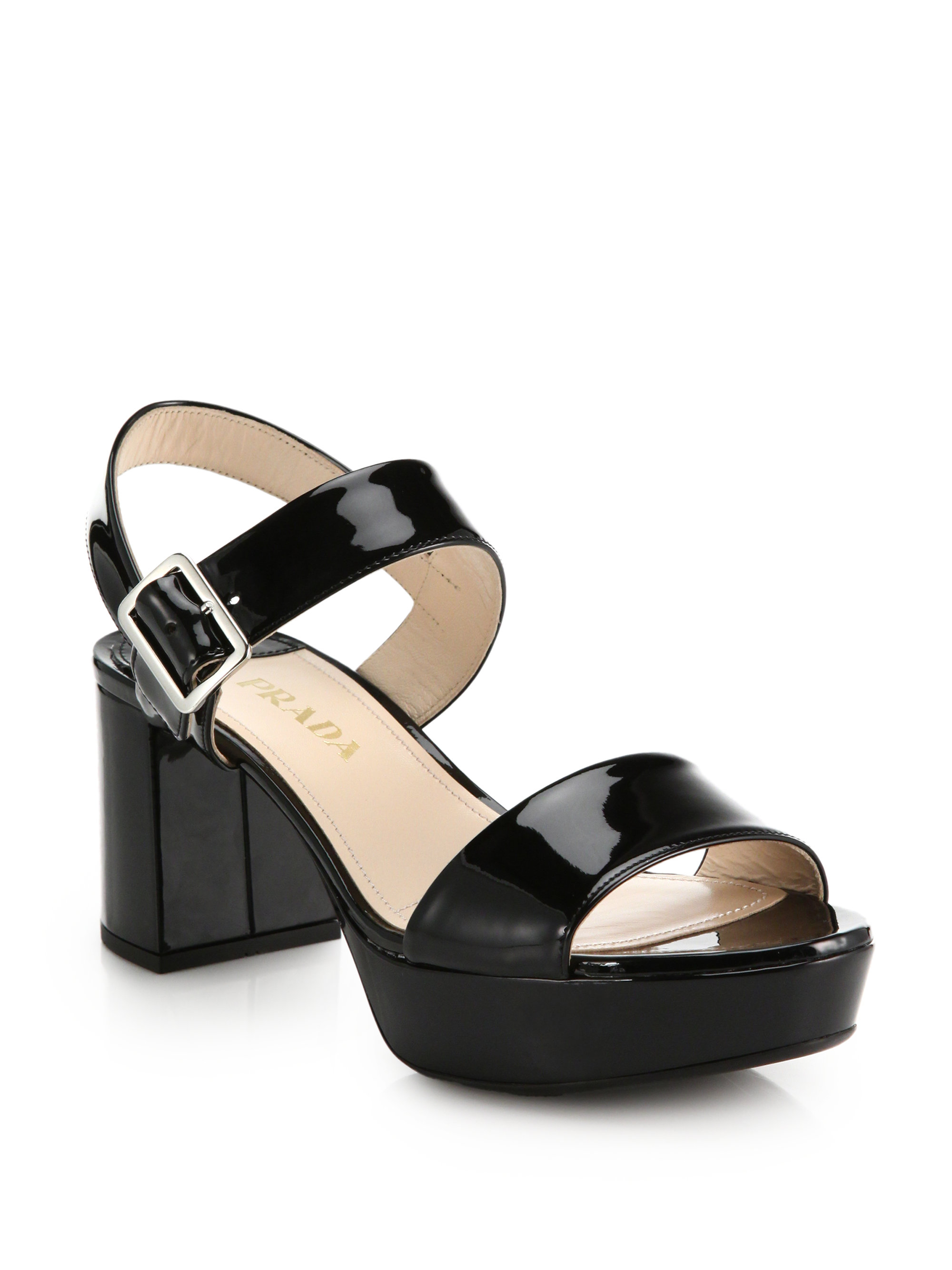 654c5e892cf Lyst - Prada Patent Leather Sandals in Black