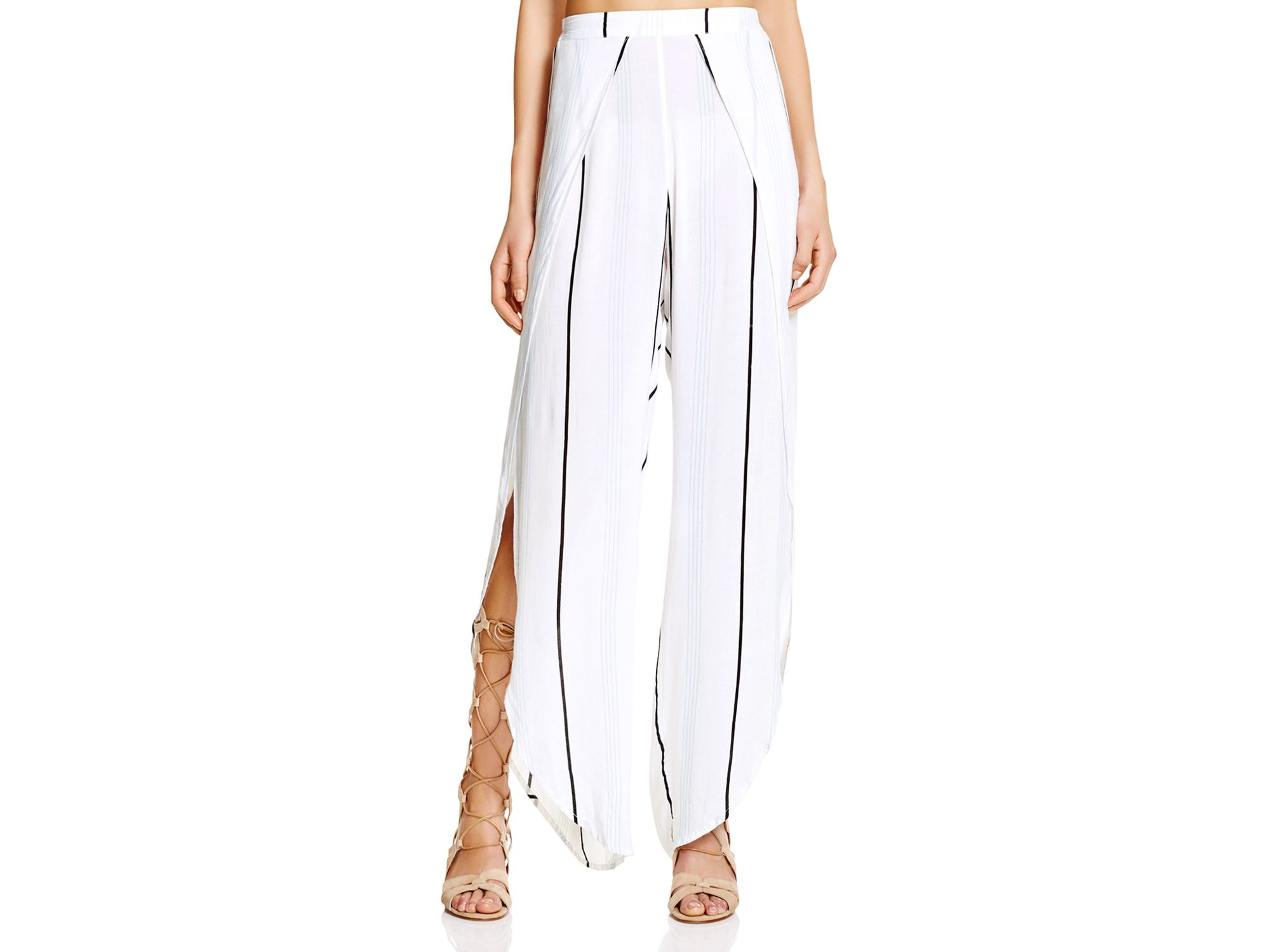 wide leg pants with slits - Pi Pants