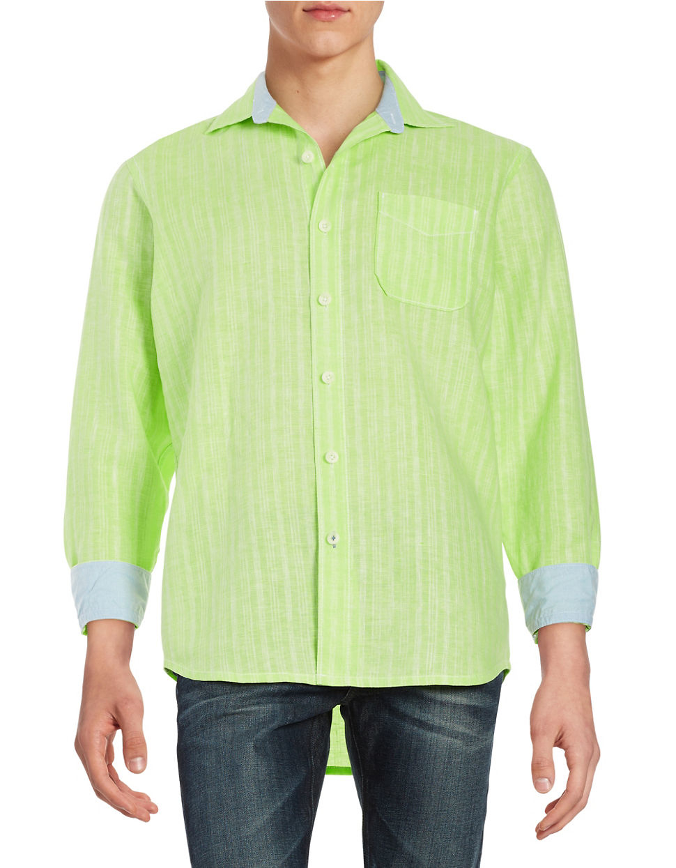 Lyst Tommy Bahama Striped Sportshirt In Green For Men