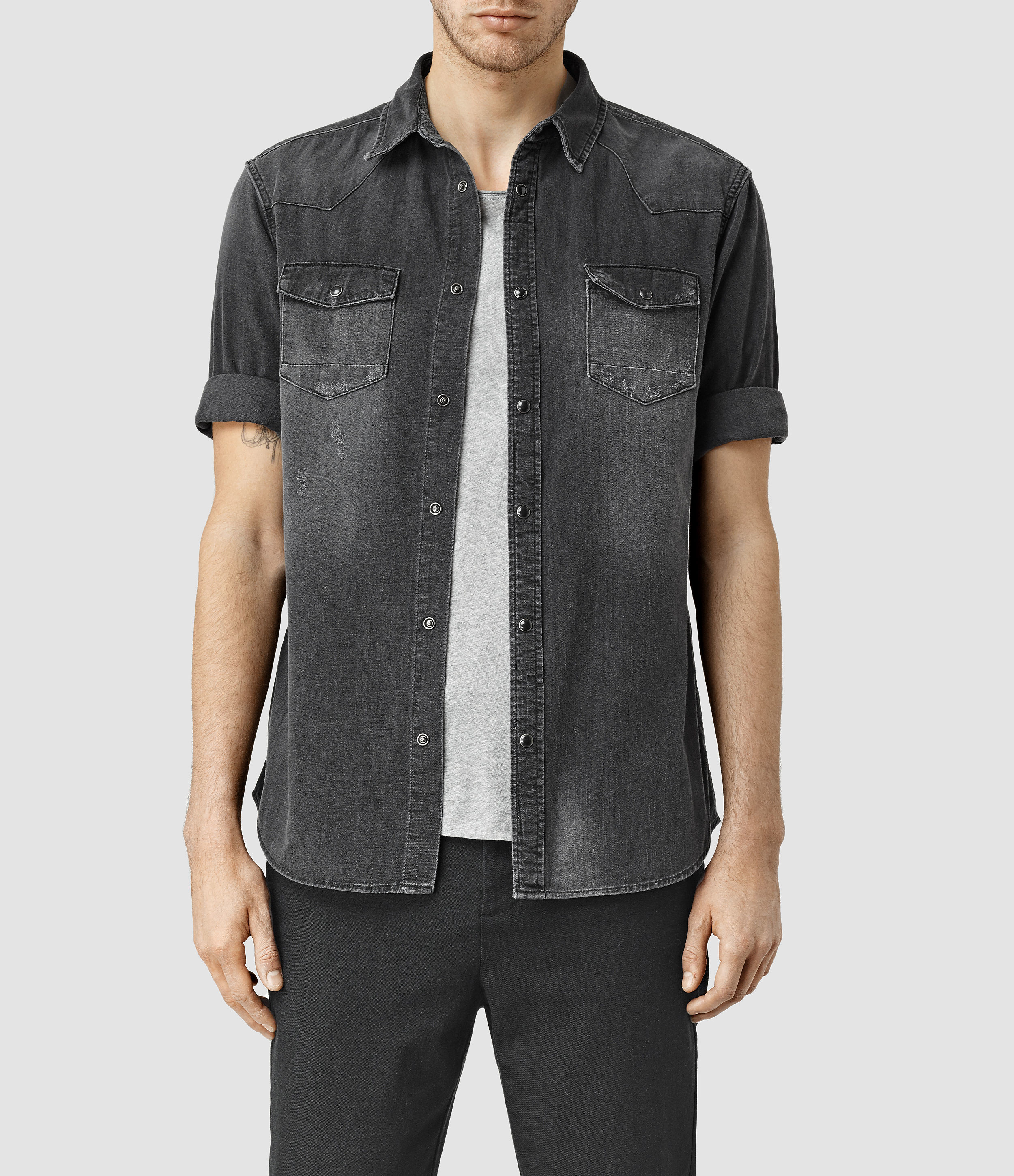 Allsaints Marilla Half Sleeve Denim Shirt In Black For Men