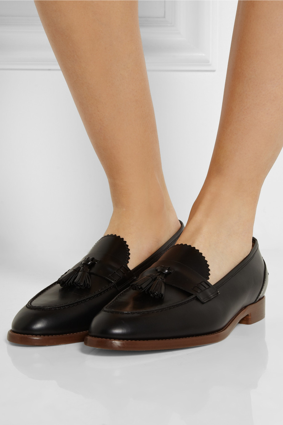 a08db8fa73e Lyst - J.Crew Tasseled Glossed-Leather Loafers in Black