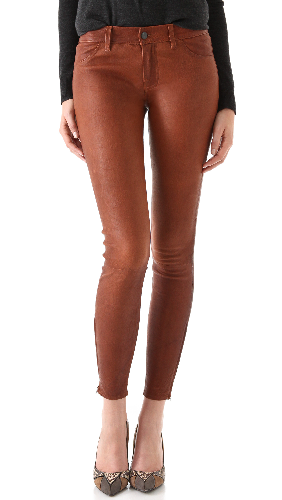 Lyst J Brand Super Skinny Leather Pants In Brown