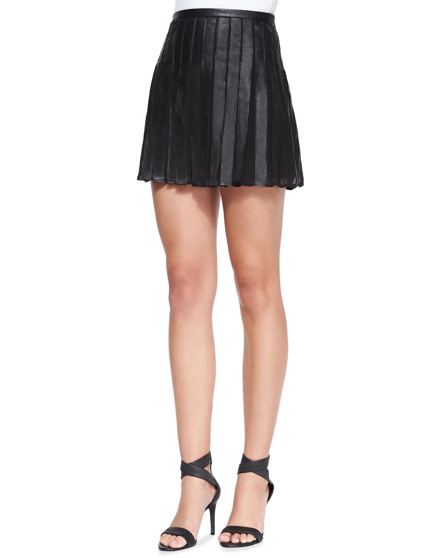 joie morowa pleated leather a line skirt in beige caviar