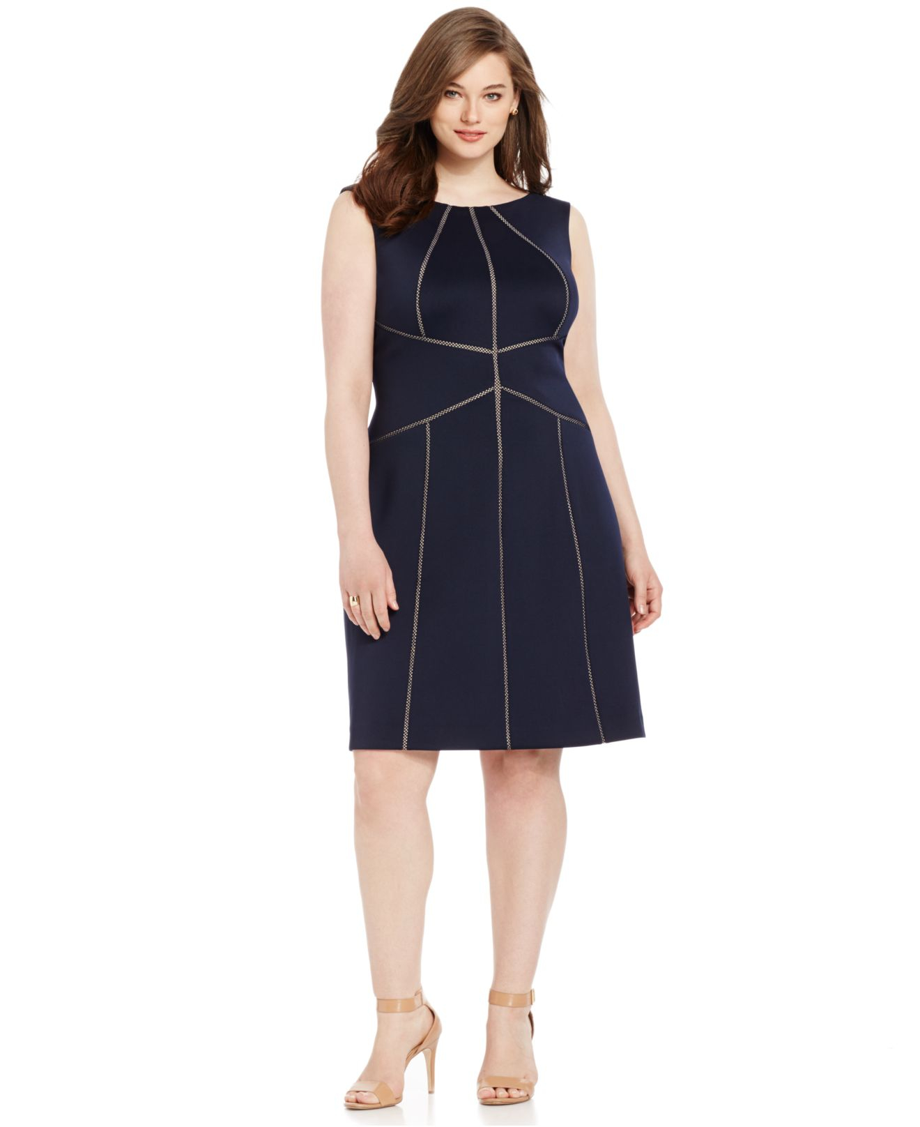 Calvin Klein Plus Size Trimmed Fit Amp Flare Scuba Dress In