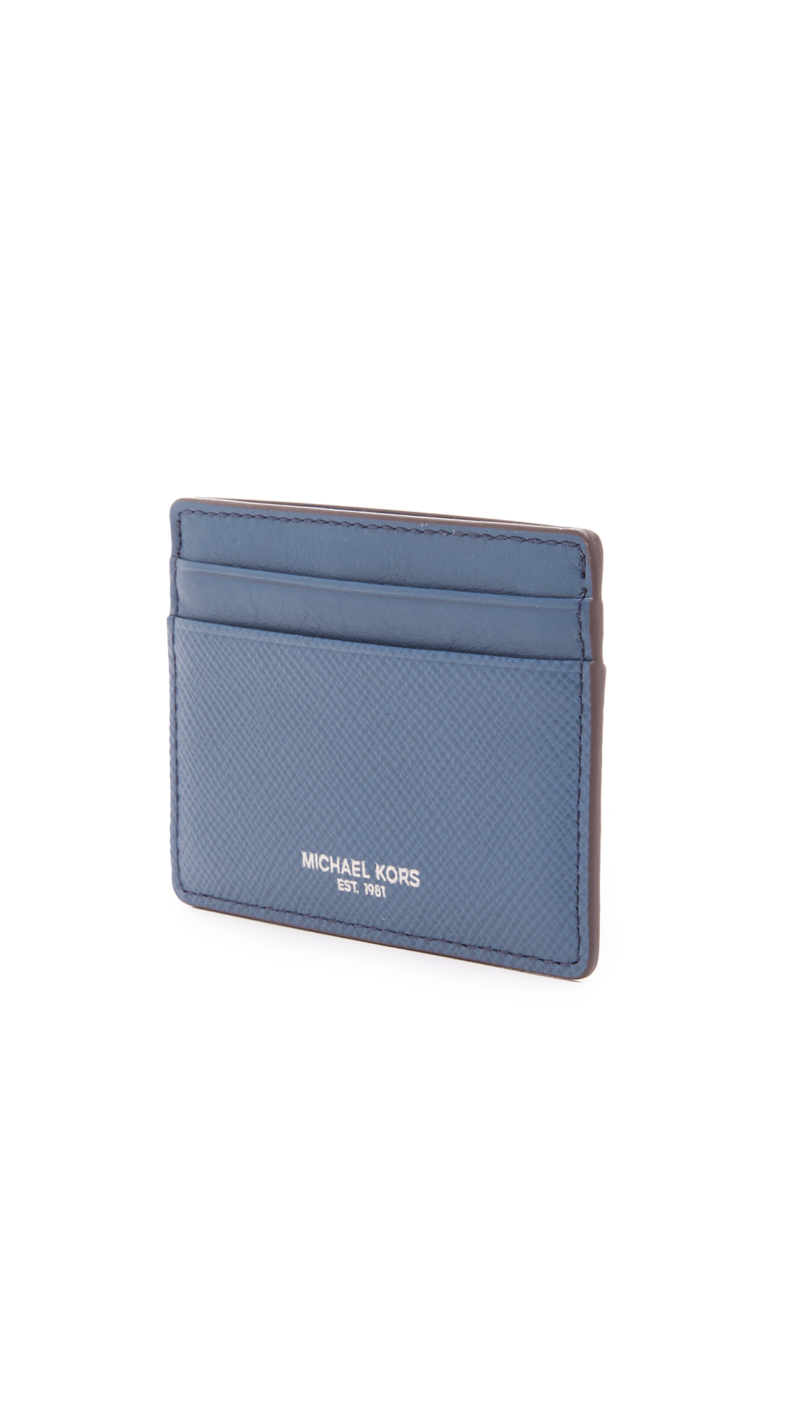 best loved a1ced 87563 Michael Kors Harrison Leather Card Case in Blue for Men - Lyst