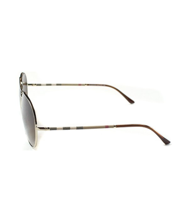 98446eb2736d Lyst - Burberry Be3056 100213 Gold Aviator Sunglasses Brown Gradient ...
