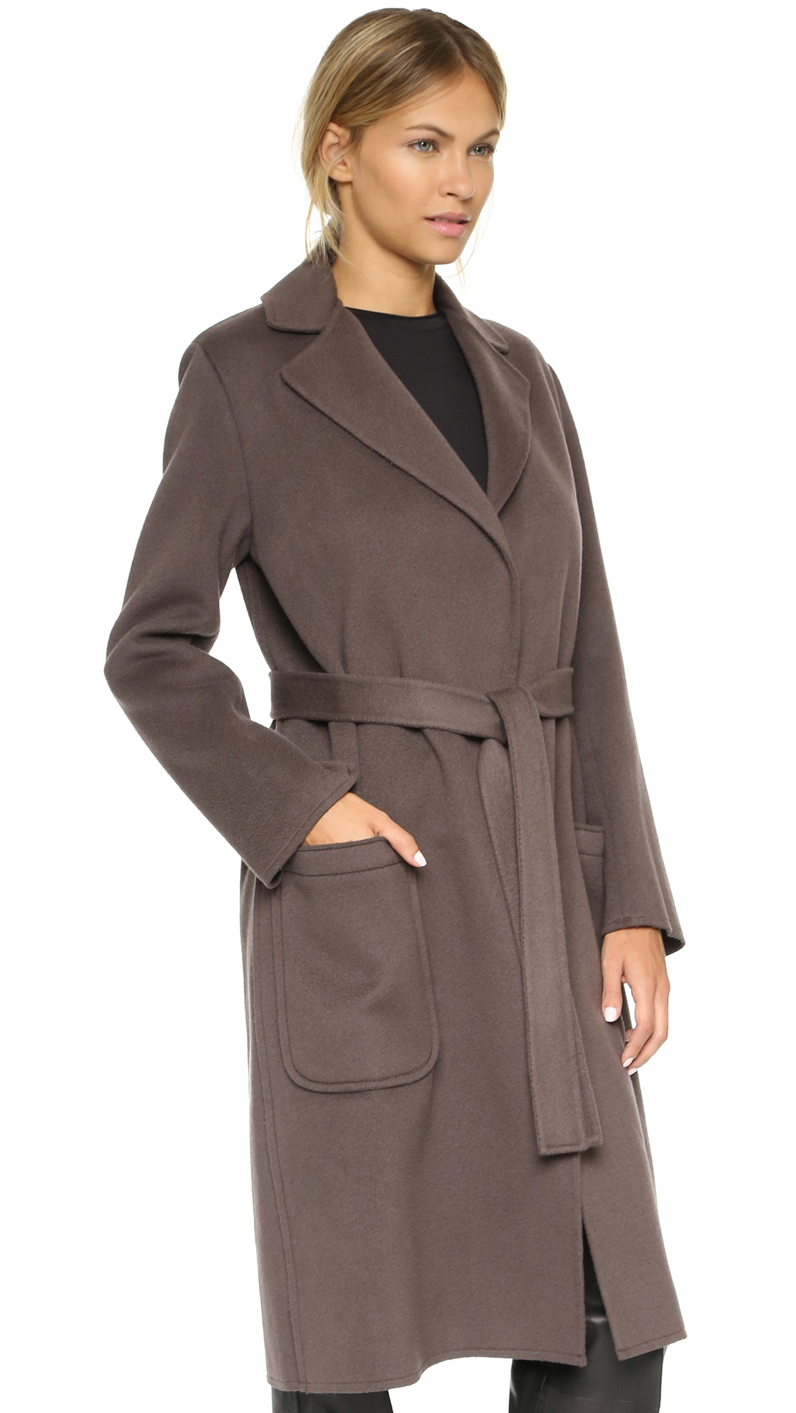 Helmut lang Long Coat - Bark in Brown | Lyst