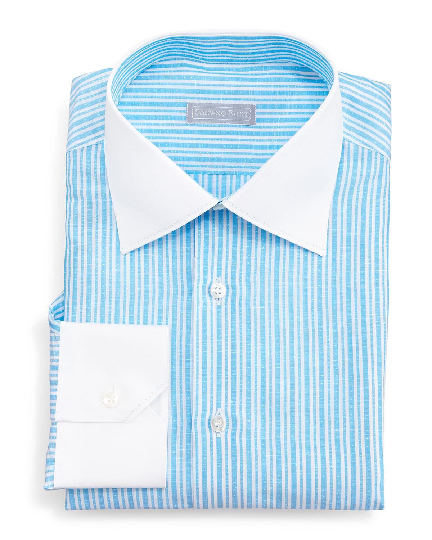 Lyst stefano ricci contrast collar narrow stripe dress for Aqua blue mens dress shirt