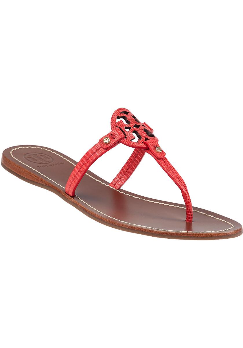 Tory Burch Mini Miller Flat Sandals In Red Lyst