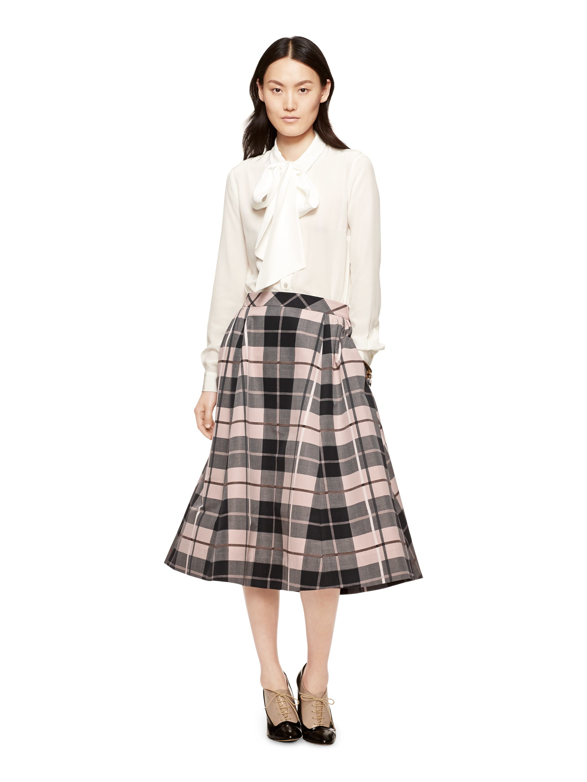 Kate spade new york Woodland Plaid Midi Skirt in Pink | Lyst