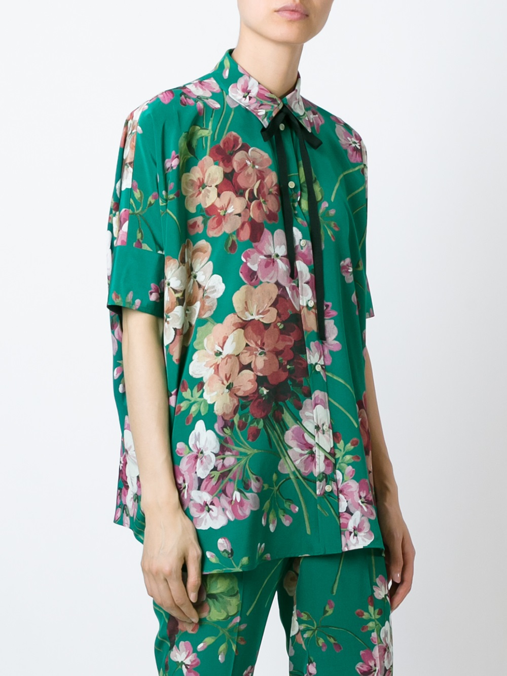 cb81621a Gucci Silk Shirt With Bloom Print in Green - Lyst