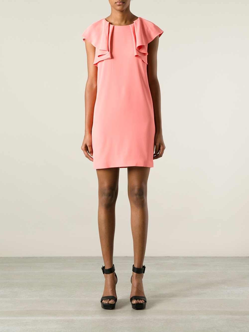 Lyst Msgm Shoulder Ruffle Dress In Red