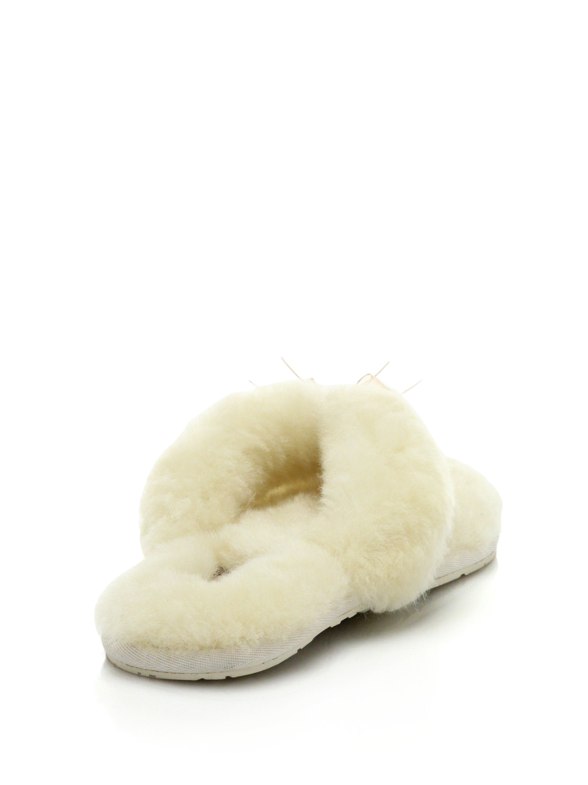 e834dfb6f4b Lyst - UGG Shearling Thong Slippers in White