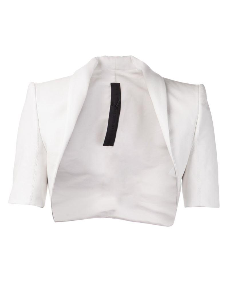 Gareth pugh Cropped Jacket in White | Lyst