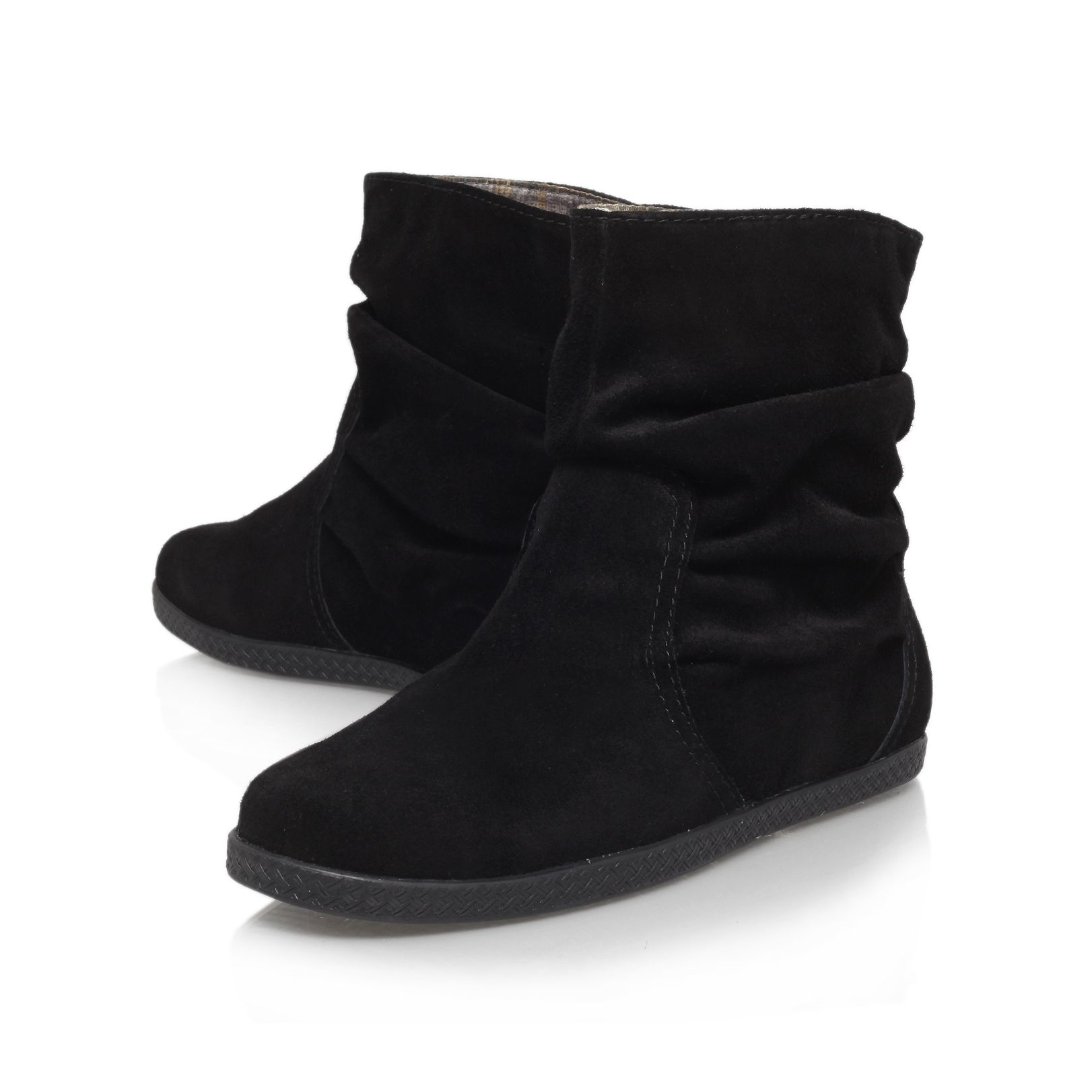 Nine west Rockinout Flat Ankle Boots in Black | Lyst