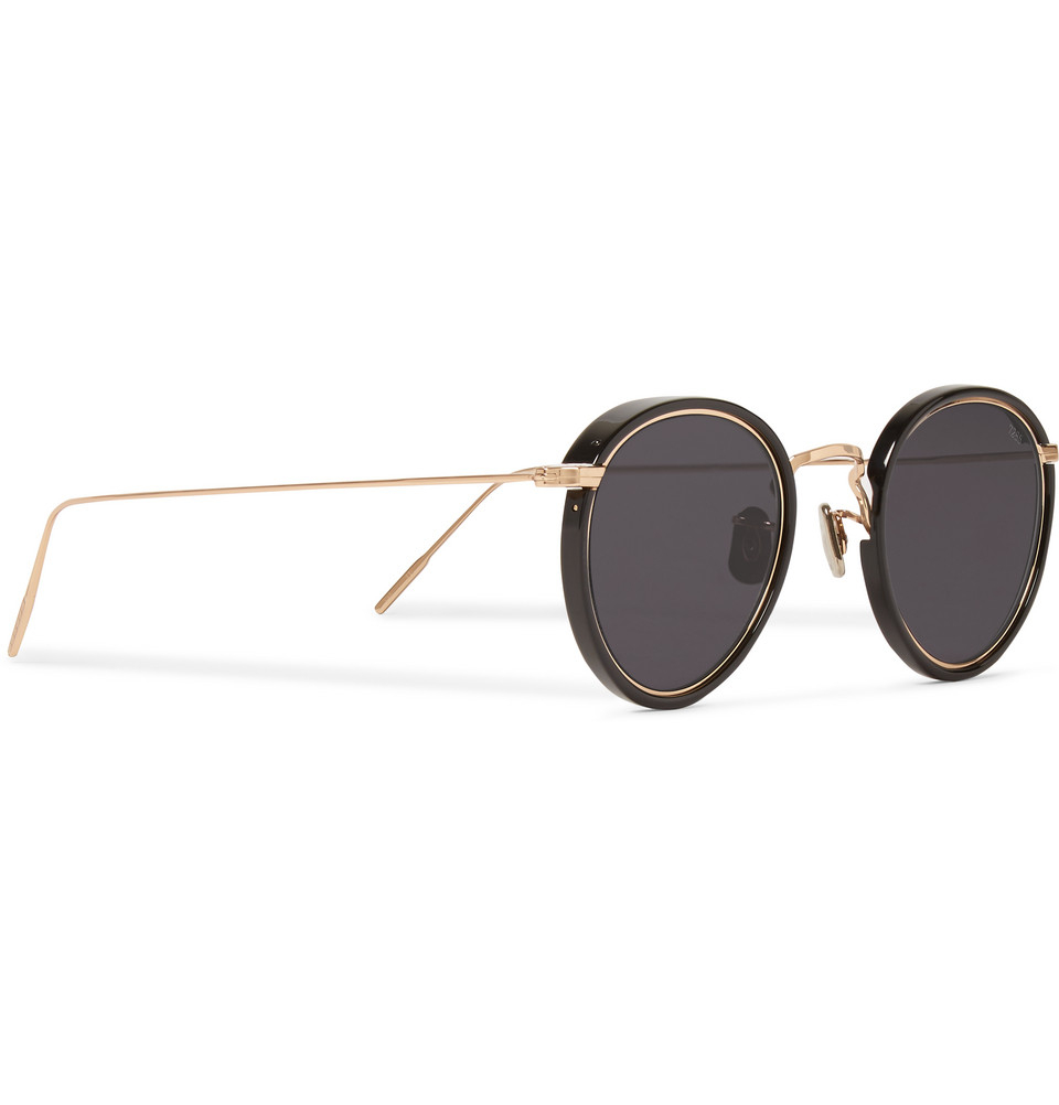 Men s Round Gold Frame Sunglasses : Eyevan 7285 Round-Frame Acetate And Metal Sunglasses in ...