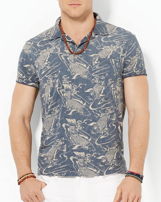 Ralph lauren polo custom fish print polo shirt slim fit for Fish print shirt