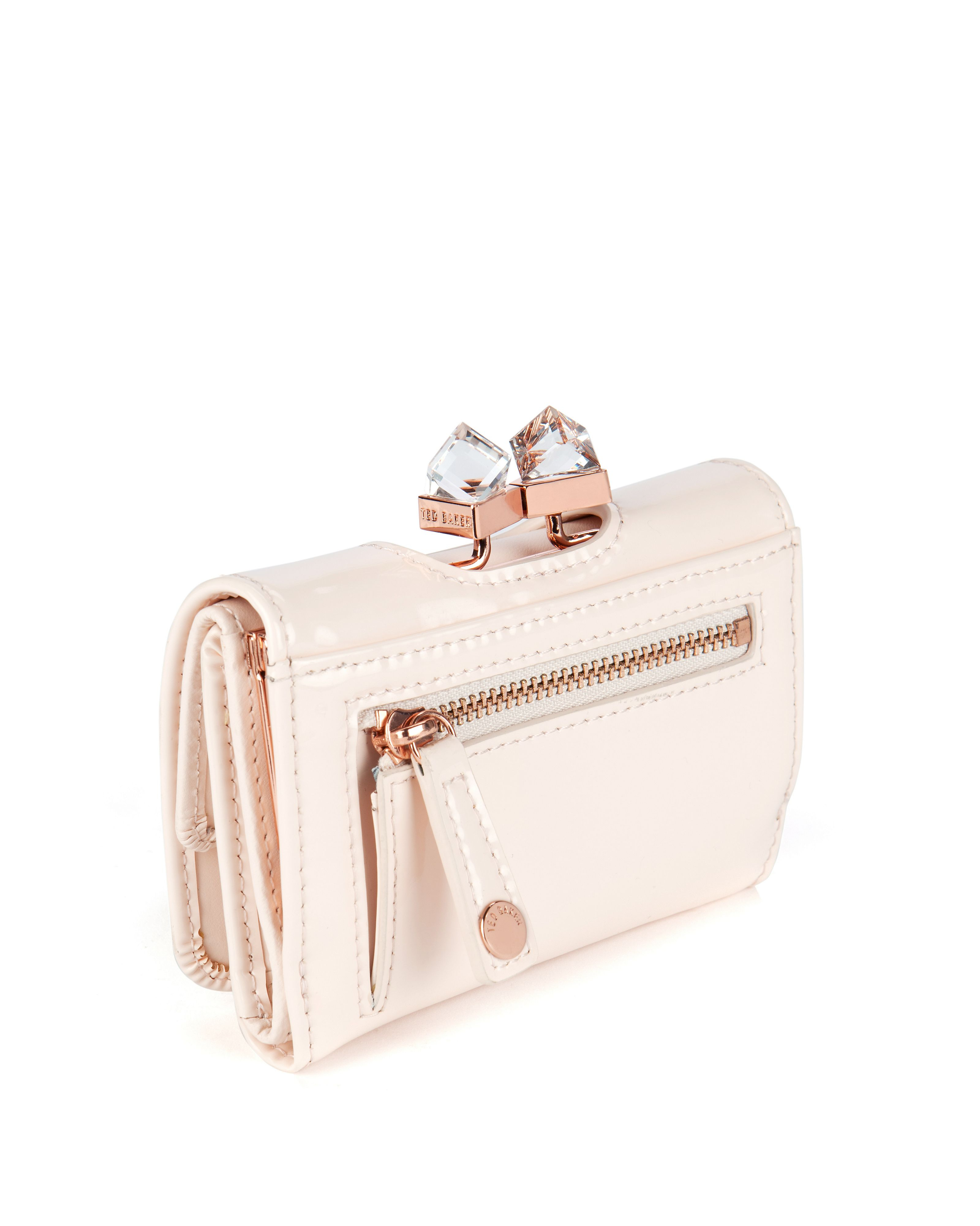 a1f97e4ba33d Ted Baker Kryssi Small Patent Crystal Frame Purse In Pink Lyst