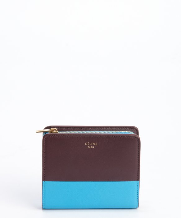 C¨¦line Brown and Blue Zip Top Tri-fold Leather Wallet in Blue ...