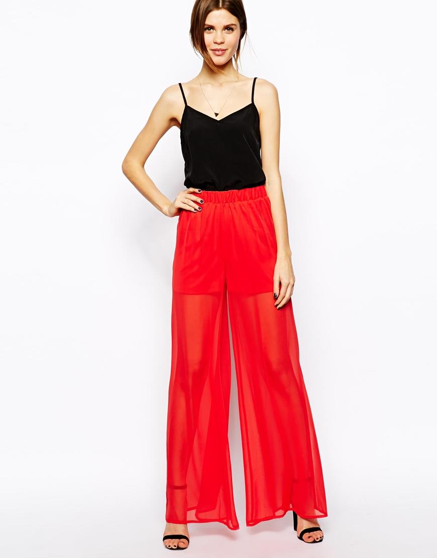 Asos Sheer Wide Leg Pants in Red | Lyst