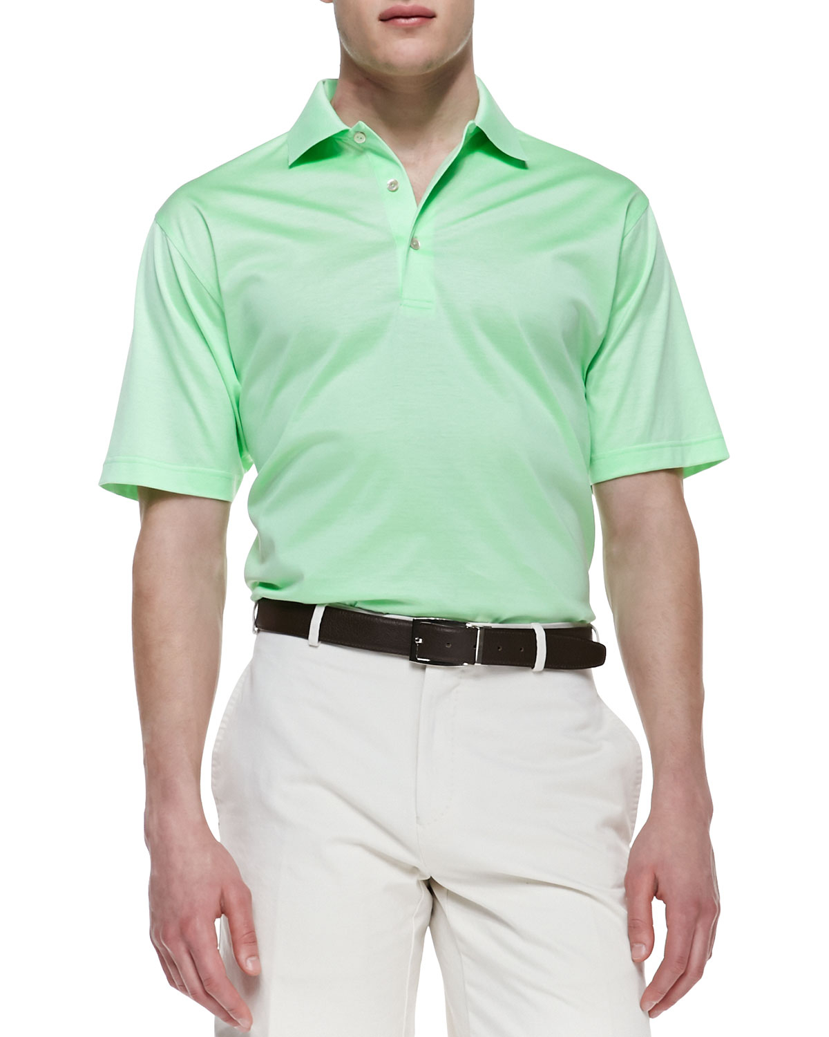 peter millar short sleeve jersey polo in green for men lyst
