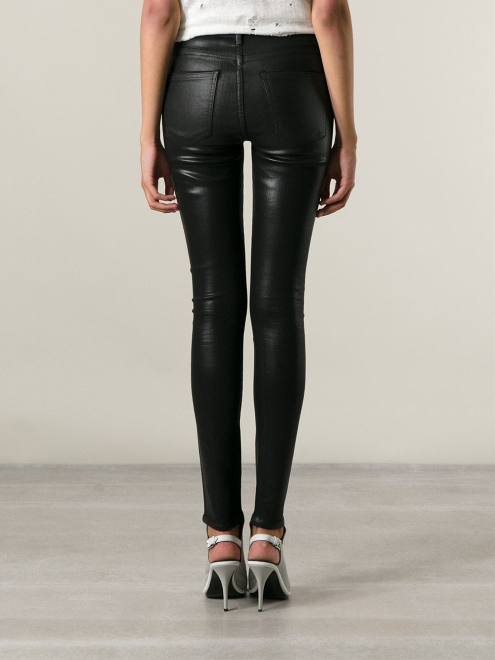 Black Shiny Skinny Jeans - Jeans Am