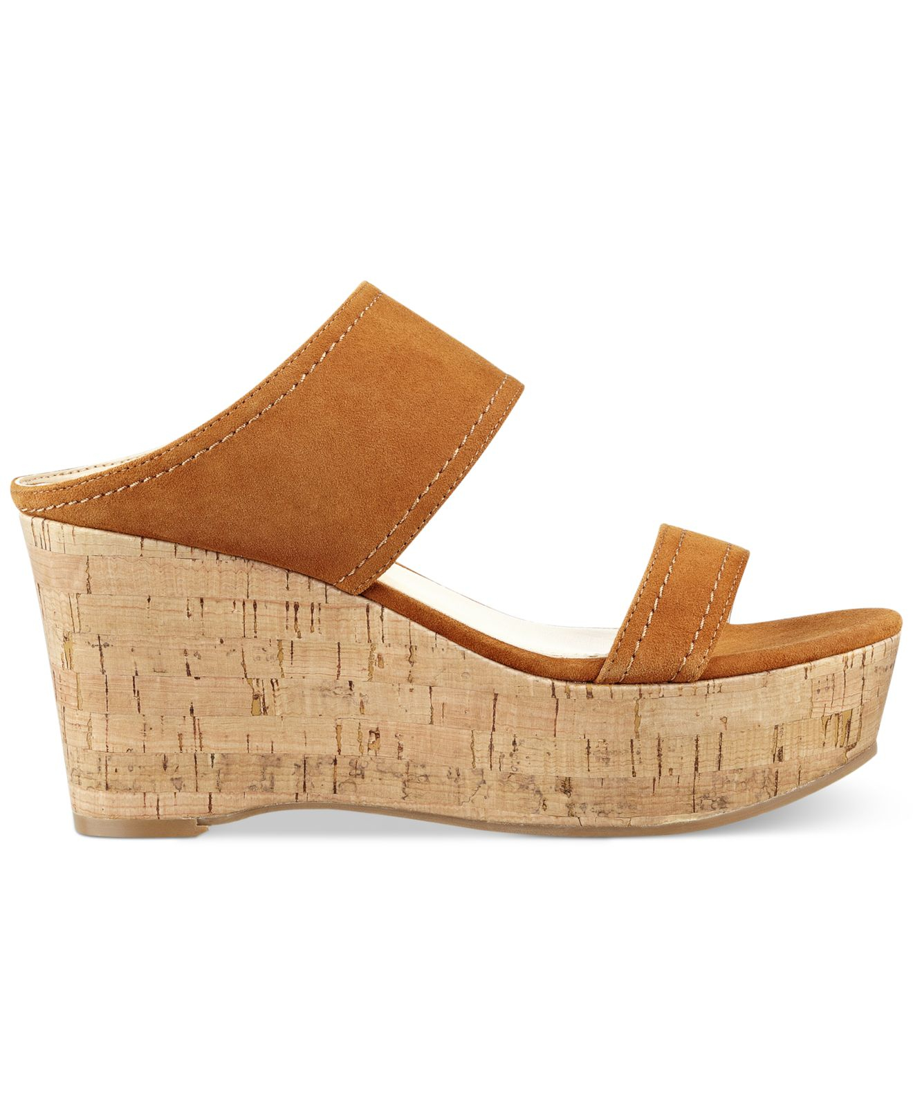 marc fisher shelbee wedge sandals in brown lyst