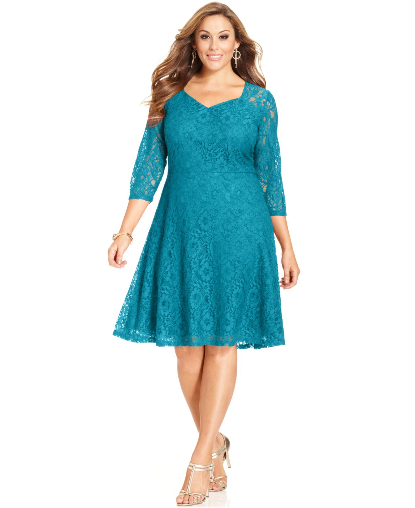 Spense Plus Size Three-quarter-sleeve Lace A-line Dress in Blue - Lyst