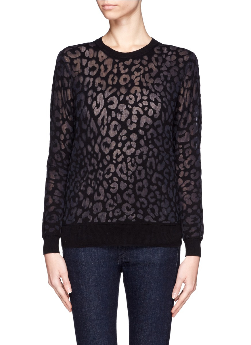 Theory Jaidyn Leopard Print Sweater in Black | Lyst