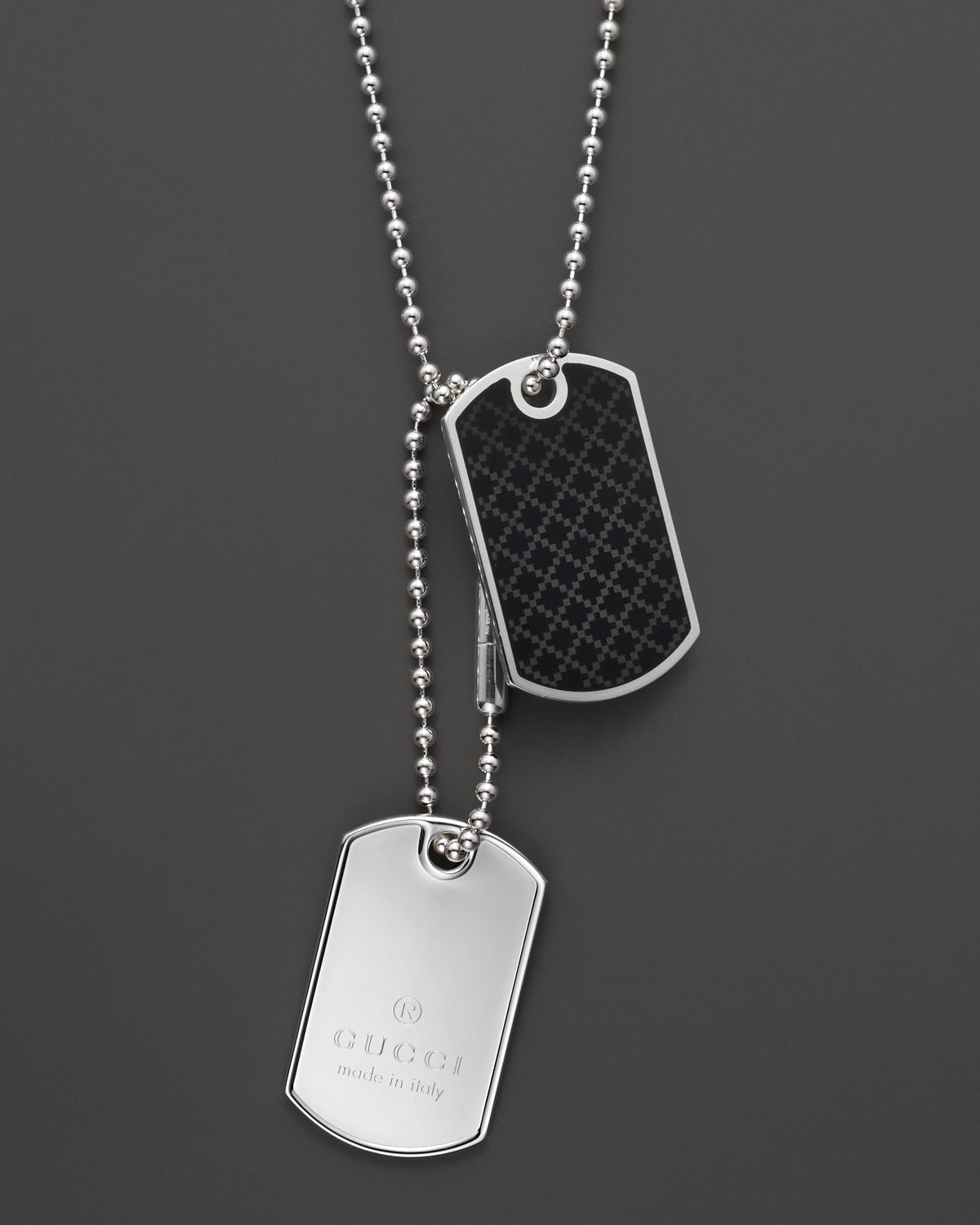 Lyst gucci dog tag necklace 236 in metallic for men gallery aloadofball Images