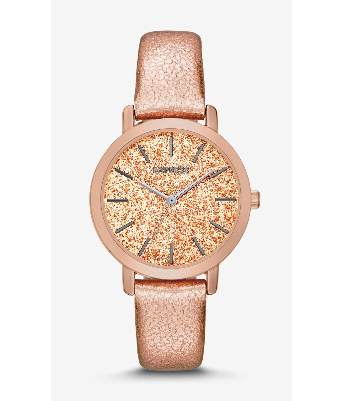 Express Sparkle Dial Rose Gold Leather Strap Watch in ...